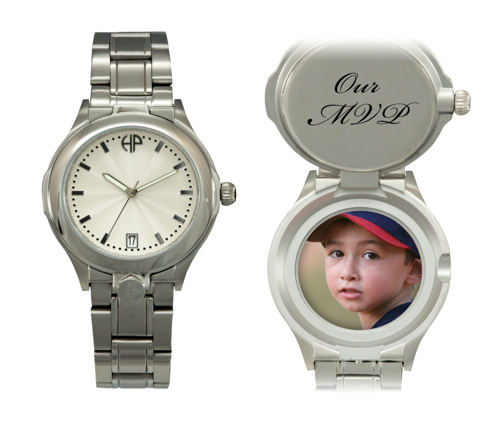 Image of Men's Maxim Silver personalized picture portrait watch