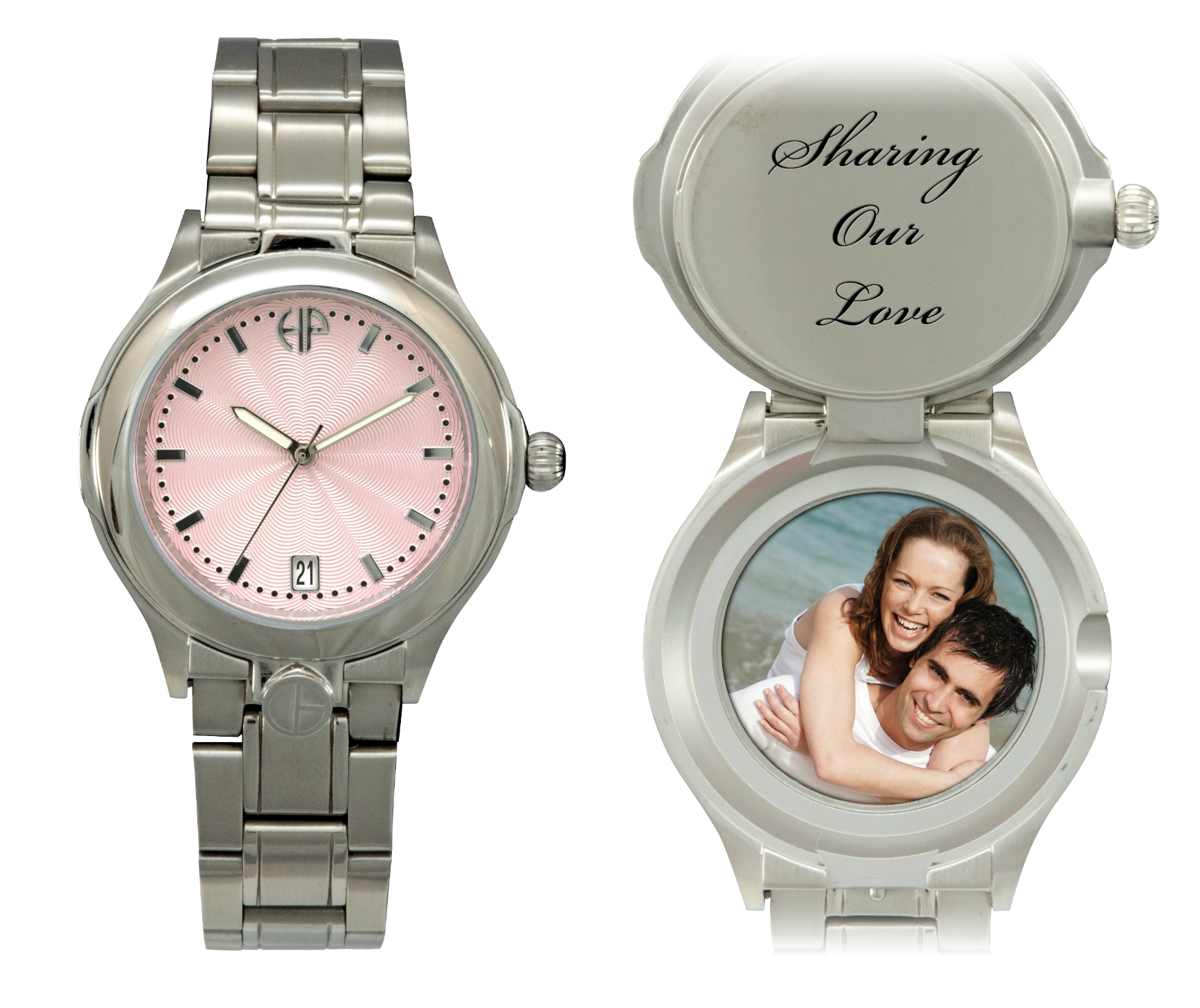 Image of Ladies Maxim Pink personalized picture portrait watch